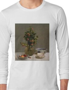 Henri Fantin-Latour - Still Life with Vase of Hawthorn, Bowl of Cherries, Japanese Bowl, and Cup and Saucer 1872 Long Sleeve T-Shirt