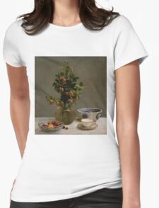 Henri Fantin-Latour - Still Life with Vase of Hawthorn, Bowl of Cherries, Japanese Bowl, and Cup and Saucer 1872 Womens Fitted T-Shirt