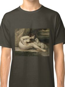 Gustave Courbet - Nude Woman with a Dog 1861 - 1862 ,  Portrait , Fashion  Classic T-Shirt