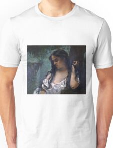 Gustave Courbet - Gypsy in Reflection 1869 , Gypsy Woman ,  Portrait   Unisex T-Shirt