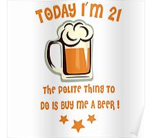 Buy Me A Beer (Color Text) Poster