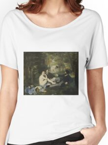 Edouard Manet - Luncheon on the Grass 1863 , French  Impressionism ,  Landscape  Women's Relaxed Fit T-Shirt