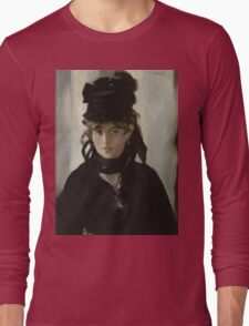 Edouard Manet - Berthe Morisot With a Bouquet of Violets 1872 , French Impressionism , Woman , Fashion ,  Portrait  Long Sleeve T-Shirt
