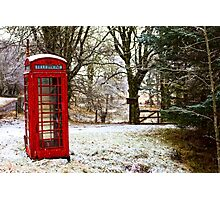 Old Red Phone Box in the Snow Photographic Print