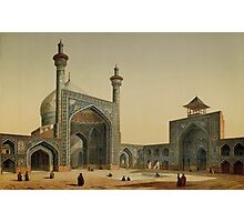 Shah Mosque, Isfahan. Painting by the French architect, Pascal Coste, visiting Persia Photographic Print