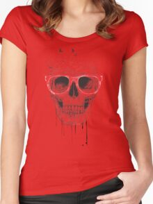Skull with red glasses Women's Fitted Scoop T-Shirt