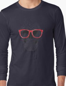 Skull with red glasses Long Sleeve T-Shirt