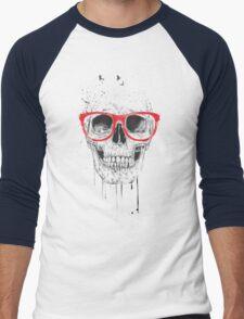 Skull with red glasses Men's Baseball ¾ T-Shirt