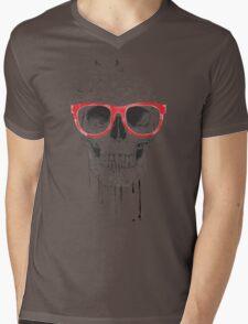 Skull with red glasses Mens V-Neck T-Shirt