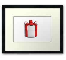one white  gift box with red ribbon  Framed Print