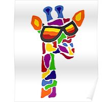 Hilarious Cool Giraffe Wearing Sunglasses Abstract Poster