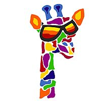 Hilarious Cool Giraffe Wearing Sunglasses Abstract Photographic Print