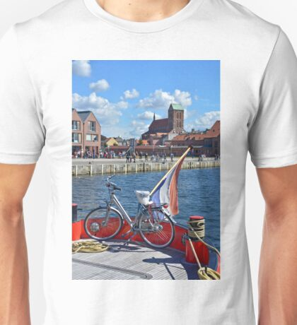 Wismar, Germany - View from a Dutch boat to Harbour and city center Unisex T-Shirt