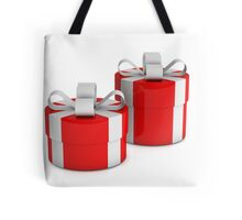 two red gift boxes with white ribbon  Tote Bag