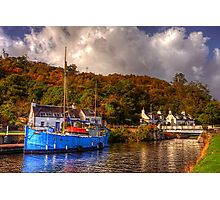 Blue Boat on the Crinan Canal Photographic Print