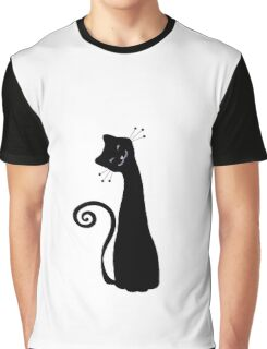 Black Cheerful Cat Vector Art Graphic T-Shirt