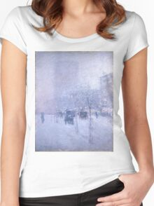 Childe Hassam - Late Afternoon, New York, Winter American Impressionism Landscape Women's Fitted Scoop T-Shirt