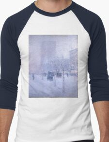 Childe Hassam - Late Afternoon, New York, Winter American Impressionism Landscape Men's Baseball ¾ T-Shirt