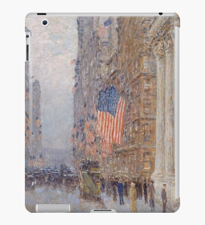 Childe Hassam - Flags on the Waldorf 1916 American Impressionism Landscape iPad Case/Skin