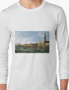 Canaletto Bernardo Bellotto - Return of  Il Bucintoro  on Ascension Day 1745-1750 Long Sleeve T-Shirt