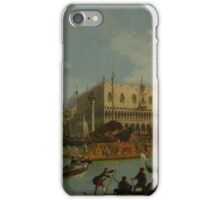 Canaletto Bernardo Bellotto - Bucentaur s return to the pier by the Palazzo Ducale 1728 - 1729 iPhone Case/Skin