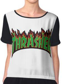 thrasher green logo Chiffon Top