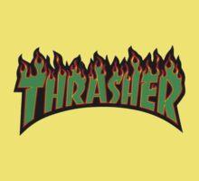 thrasher green logo Kids Tee