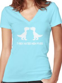T-Rex Hates High Fives Women's Fitted V-Neck T-Shirt