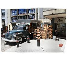 """1950 Chevy 3100 Truck """"Fruits & Vegetables"""" in Montevideo Poster"""