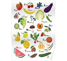 English alphabet with fruit and vegetables Poster