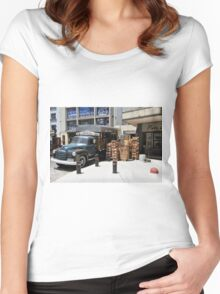 """1950 Chevy 3100 Truck """"Fruits & Vegetables"""" in Montevideo Women's Fitted Scoop T-Shirt"""