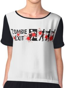 ZOMBIE EXIT SIGN by Zombie Ghetto Chiffon Top