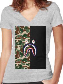 APE X SHARK Women's Fitted V-Neck T-Shirt