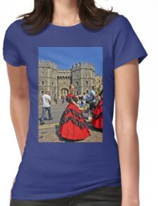 Windsor Castle, England. Girl in Victorian style.  Womens Fitted T-Shirt