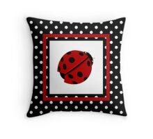 Ladybug  And Polka-dot  Throw Pillow