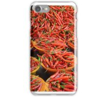 Outdoor market, red and green hot peppers iPhone Case/Skin