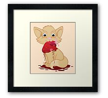 Cat with Heart Framed Print