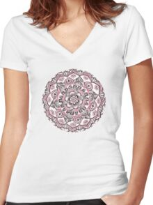 Magical Mandala in Monochrome + Pink Women's Fitted V-Neck T-Shirt