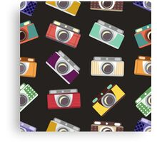 Abstract pattern. Cameras in flat design. Canvas Print