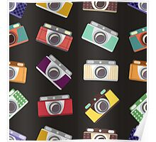 Abstract pattern. Cameras in flat design. Poster