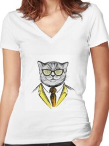 cat dressed up in hipster style,fashion on white background, Women's Fitted V-Neck T-Shirt