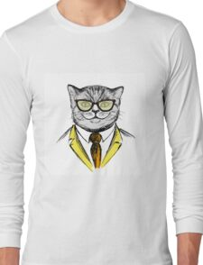 cat dressed up in hipster style,fashion on white background, Long Sleeve T-Shirt