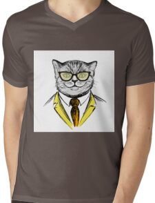 cat dressed up in hipster style,fashion on white background, Mens V-Neck T-Shirt