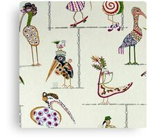 Tribal, Fun Bird Critters Canvas Print