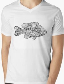 Fish with doodle pattern Mens V-Neck T-Shirt