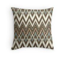 Tribal, Geometric Chevron Patterns Brown Hue Throw Pillow