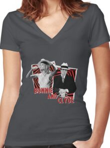 Bonnie and Clyde - Warren Beatty and Faye Dunaway Women's Fitted V-Neck T-Shirt