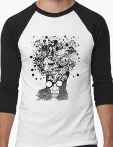Bubbling Mind (Black) Men's Baseball ¾ T-Shirt
