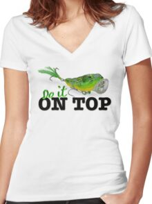 top water fishing Women's Fitted V-Neck T-Shirt