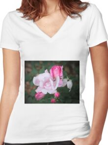 Roses In Different Stages Women's Fitted V-Neck T-Shirt